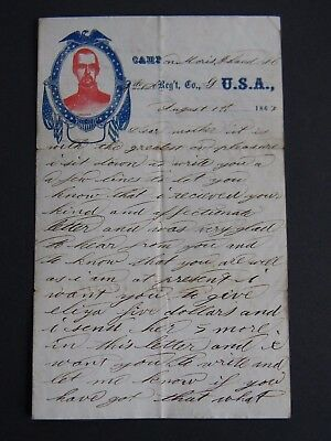 1863 CIVIL WAR LETTER w PHOTOGRAPH of JOHN A. WENTWORTH of DOVER NEW HAMPSHIRE