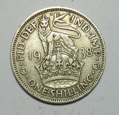 Great Britain :  Shilling  1938.  0.500 Silver