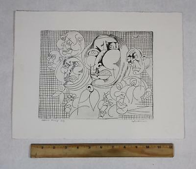 Vintage Pencil Signed Artist Proof ADNAN CHARARA Abstract Modernist Faces, NR