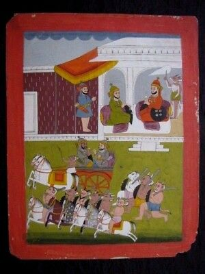 Authentic Late 18Th Century Indian Miniature Painting Demon Army Mewar School