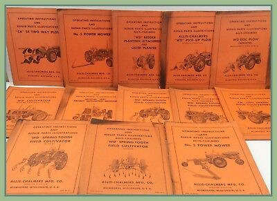 13 Vintage Allis Chalmers Operating Instructions Repair Parts Illustrations Lot