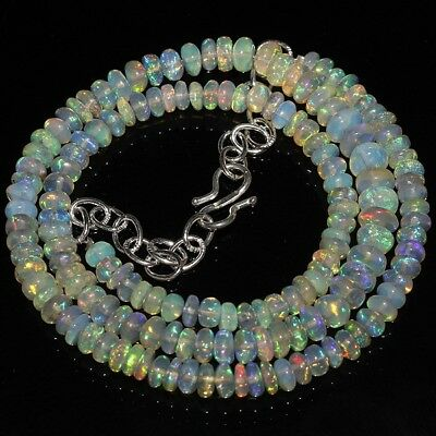 67 Ct Natural Ethiopian Welo Fire Opal Smooth Rondelle Plain Beads Necklace 1010
