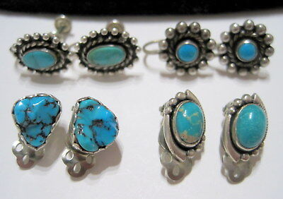 Gorgeous VINTAGE SW Native TURQUOISE & SILVER FOUR(4) PAIRS of EARRINGS *ESTATE*