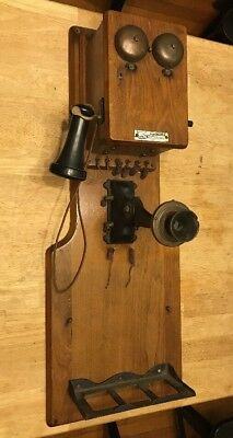 Antique Oak Wall Telephone Williams Electric Co Cleveland Oh. Vintage Hand Crank