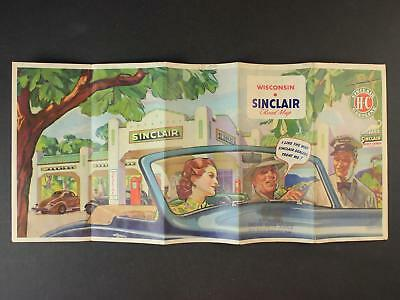 1938 WISCONSIN ROAD MAP produced by SINCLAIR OIL