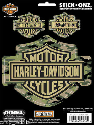 Three (3) Camouflage Harley Davidson Bar & Shield Decal Sheet Of 3 Camo Decals