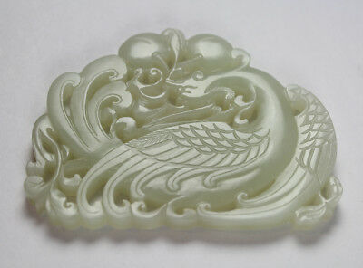 18C CHINESE PALE CELADON CARVED JADE CHIME PLAQUE w PHOENIX, PEACHES