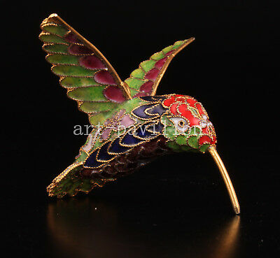 Cloisonne Statue Animal Figurine Pendant Handmade Hummingbird Old Handicraft Col