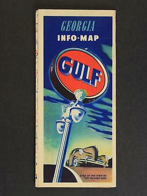 1947 GEORGIA ROAD MAP produced by GULF OIL