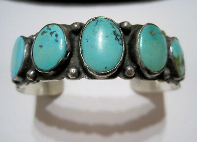 FRED HARVEY ERA Antique OLD PAWN SW Native STAMPED TURQUOISE & SILVER BRACELET