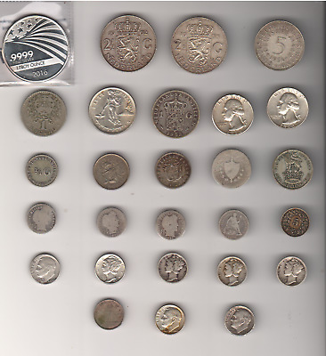 Lot of 24 Silver Coins + Bonus of 2 Non-Silver Coins - Close to Price of Silver