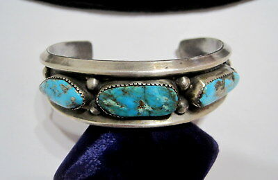 STUNNING Antique OLD PAWN SW Native TURQUOISE & COIN SILVER CUFF BRACELET