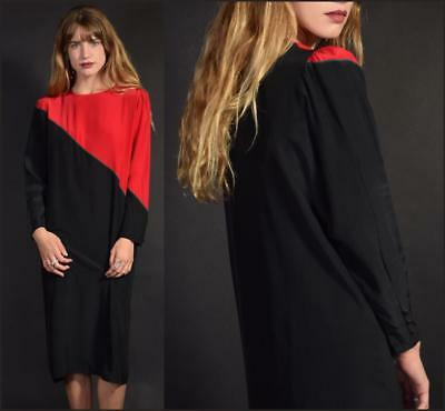 Vtg 80s simple tailored red + blk 100% SILK color block HOLIDAY midi party dress