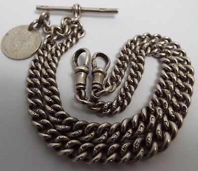 Superb Condition English Antique 1923 Solid Sterling Silver Double Albert Chain