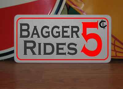 BAGGER RIDES 5 Cents Metal Sign Tin Motorcycle