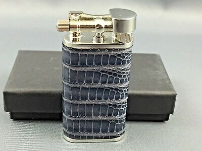 Pearl Blue Stanley Leather pipe pipa lighter - Made in Japan - Stainless Steel