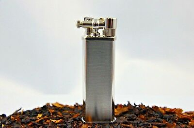 Pearl Chrome Brushed Bolbo Slim pipe lighter - Made in Japan - Stainless Steel