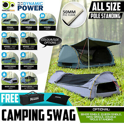 Double Single King Biker Size Camping Swag Canvas Outdoor Aluminium Poles Tent
