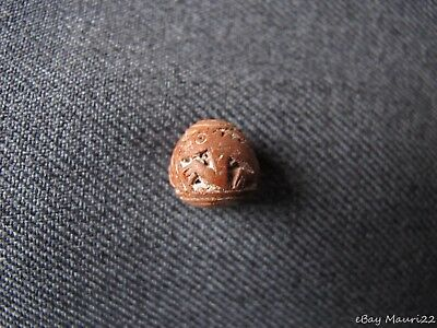 Antique Pre Columbian South America Incised Zoomorphic Lizards Clay Bead  #22