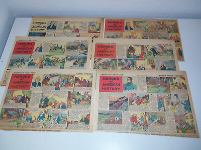 1936-1937 Lot 10 Sunday Comic Strip Pages HEROES OF AMERICAN HISTORY N A Fonsky