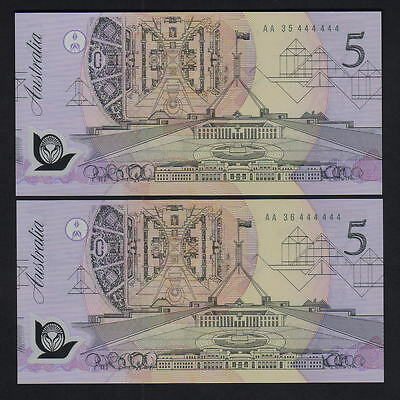 R-214. (1992) $5 - Fraser/Cole.  SOLID Serials 444444.. CONSEC Pair AA 35 & 36
