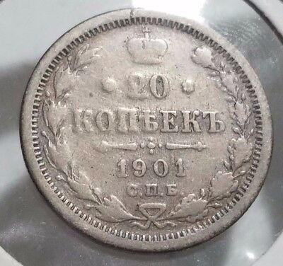 Russia 1901 20 Kopeks  50% Silver Good Details Coin - C29