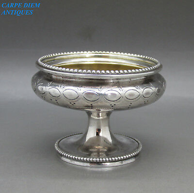 Antique Victorian Stylish Solid Sterling Silver Pedestal Salt, M&h, Sheff 1864