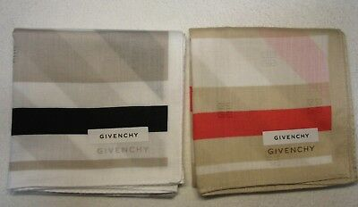 """LOT of 2 pcs: GIVENCHY handkerchief cotton 50X50cm(19.69"""") made in Japan"""