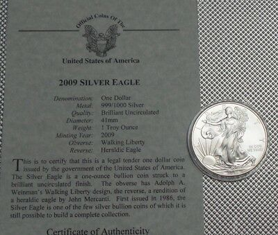 2009 Usa  $1 Coin 999 Silver  1 Oz Walking Liberty {1}