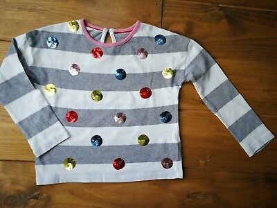 mini Boden grey and white stripe spotted long sleeve top in age 3-4 years. Mint
