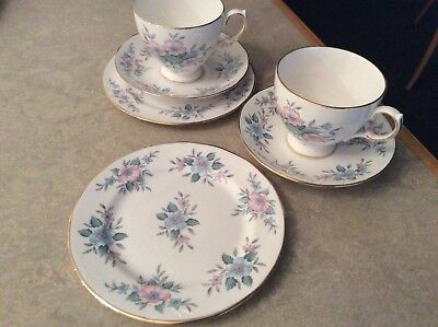 vintage china tea set trios colclough coppelia