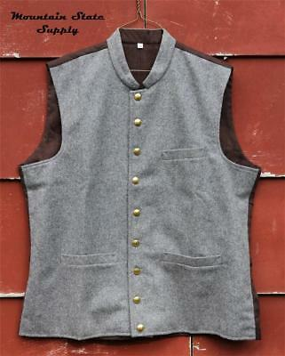 """Repro U.S. Civil War Confederate South Officer's Grey Wool Vest Tag=36 Chest=42"""""""