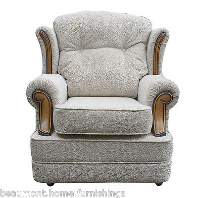 High Wingback Fireside Chair Verona Fabric Seat Easy Armchair Queen Anne Legs