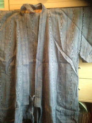 Traditional Japanese Happi Jacket, Kimono denim blue linen blend,