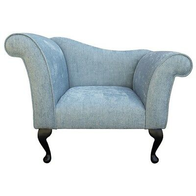 "37"" Small Designer Chaise Longue Lounge Seat Armchair Arm Chair Duck Egg Fabric"