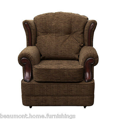 High Wingback Fireside Chair Chocolate Fabric Seat Easy Armchair Queen Anne Legs