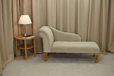 "52"" Large Chaise Longue Lounge Sofa Day Bed Seat Chair Beige Fabric Queen Anne"