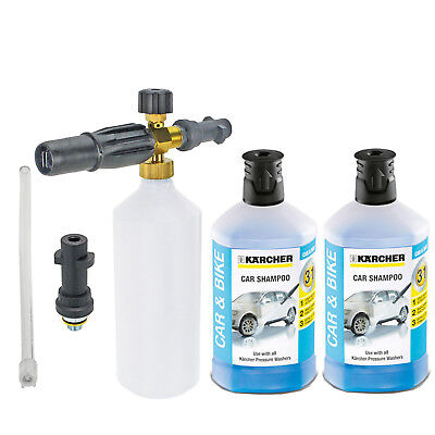 1L Foam Nozzle Spray Bottle + 2 x Detergents for KARCHER FJ6 K2 K3 K4 K5 K6 K7