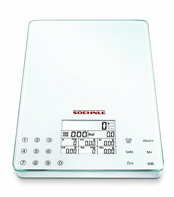 Soehnle Food Control Easy Kitchen Weighing Calories Display Scales White