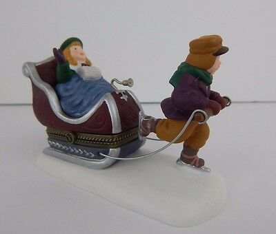 Dept 56 Heritage Village Collection Sleighride Hinged Box #57502 Good Condition