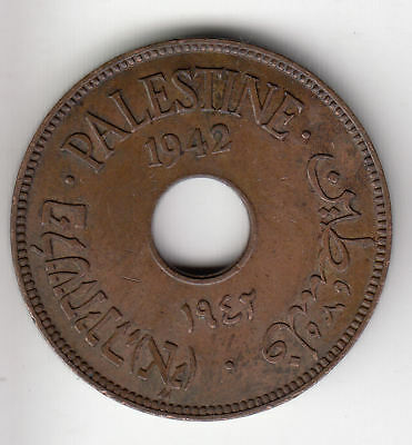 Palestine 10 Mils 1942 Copper Scarce          93A               By Coinmountain