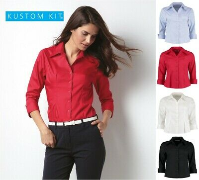 Kustom Kit Womens Business Work Office Blouse Long Sleeve Easy Iron Lady Fit