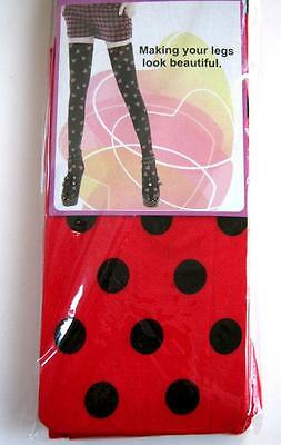 Red Black Polka Dot Ladybug Over the Knee Stocking Socks Costume Accessory NEW