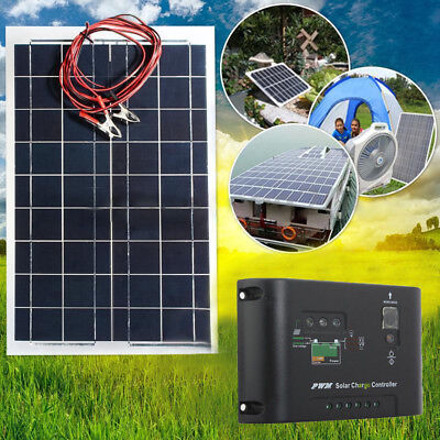 30W Watt 12V Semi-Flexible Solar Panel +12V/24V Solar Controller Kit For RV Boat