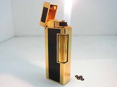 DUNHILL Rollagas Lighter Gold Black Lacquer Gas leaks W/4p O-rings Auth Swiss