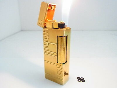 DUNHILL Rollagas Lighter Signature Gold Gas leaks Auth Swiss W/4p O-rings