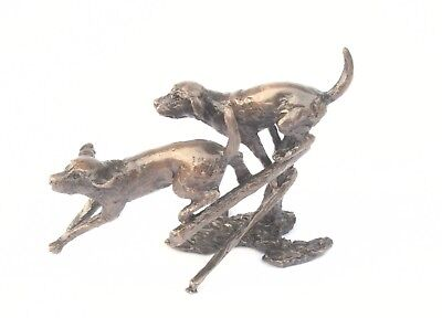 Labrador Pair Miniature Solid Genuine Bronze by Butler & Peach Gift Boxed (2021)
