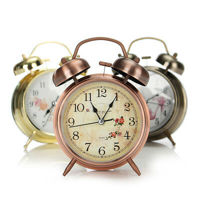 Retro Double Bell Alarm Clock Night Light Classic Quartz Movement Bedside Gifts