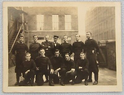 Real Photo Postcard Royal NAVY SUBMARINE Crew Training School WW1 Merchant