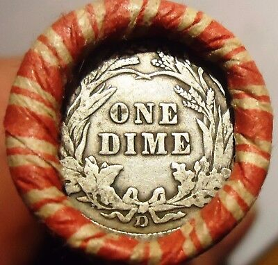 "Wheat Cent Roll  w/ TWO!!  ""d"" Mint Barber Dimes on the ends (L27)"